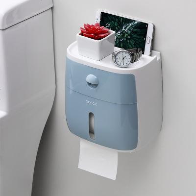 卫生纸盒卫生间纸巾厕纸置物架厕所家用免打孔创意防水抽纸卷纸筒 睿智蓝