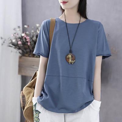 大碼女裝文藝短袖T恤女韓版夏季新款寬松顯瘦棉質女士上衣棉 莎丞
