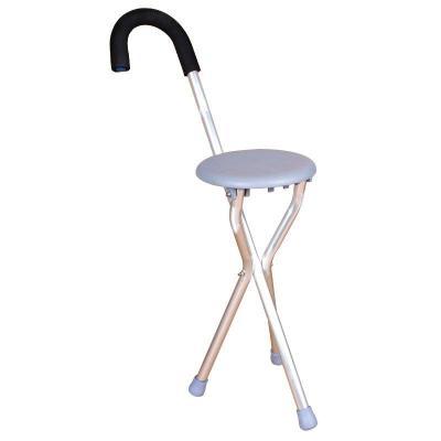 高博士老人拐杖凳子四腳椅凳多功能拐杖椅防滑折疊拐扙老年手杖拐棍 三腳灰