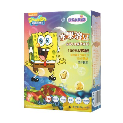 beakid 美国海绵宝宝纯水果溶豆水果脆片蓝莓火龙果香蕉味 24g-盒装 零食点心