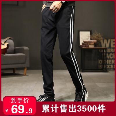 彈力男士西褲直筒修身百搭時尚男褲多色純色簡約男式長褲戶外運動褲