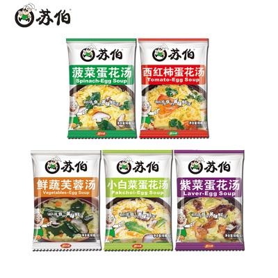 【32.6元兩件】蘇伯紫菜鮮蔬西紅柿蛋湯6g*15包混合多味組合速食早餐方便即食湯