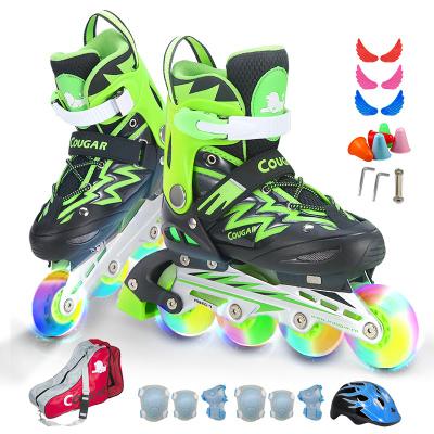 COUGAR美洲狮溜冰鞋儿童成人溜冰鞋全套装可调男女通用滑板鞋旱冰鞋直排轮新休闲鞋