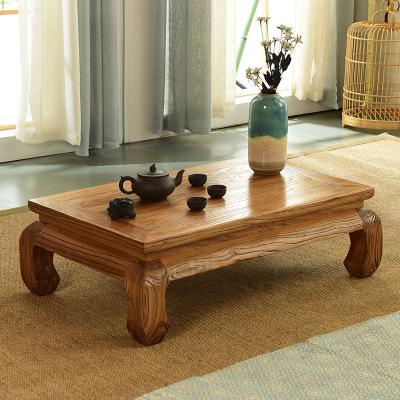 汐巖老榆木榻榻米茶幾實木飄窗桌子小茶幾日式矮桌子炕桌榻榻米桌中式