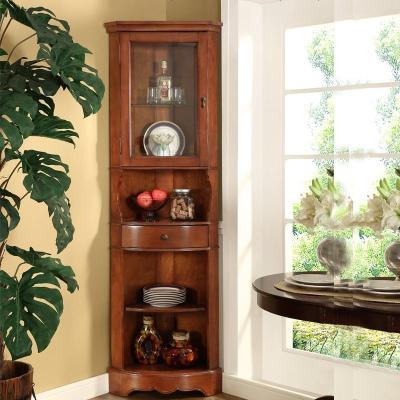 美式角柜 实木墙角柜 欧式客厅三角酒柜储物边柜简约转角柜
