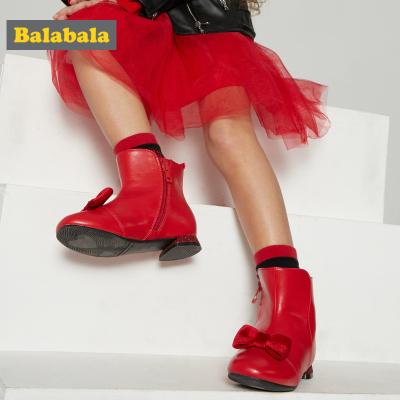 巴拉巴拉女童靴子春春新款小童兒童鞋子女短靴加絨紅色小皮鞋