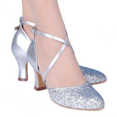 女式拉丁舞鞋成人摩登舞鞋交谊舞鞋女中跟新款跳舞鞋广场舞鞋春夏