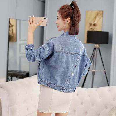 名麗斯2020春秋新款后背斜口設計短款牛仔外套女韓版寬松百搭牛仔衣女士牛仔服
