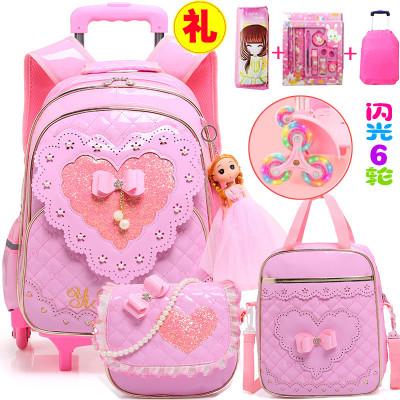 PU皮拖拉桿箱書包小學生女孩兒童女童12周歲女生3-6年級5公主 莎丞
