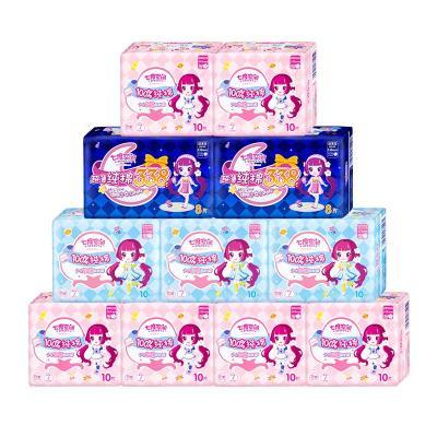 七度空间(SPACE 7)少女系列超薄纯棉 卫生巾 日用+夜用夜组合套装11包106片