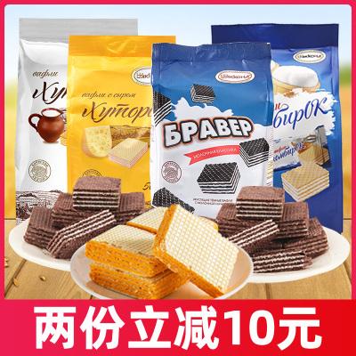 俄羅斯進口阿孔特菲利莫威化餅干500g奶酪牛奶巧克力網紅夾心冰淇淋威化餅巧克力威化