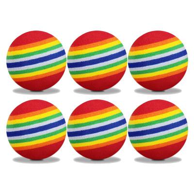 苏宁好货高尔夫球彩色实心海绵球圆球软球 儿童室内高尔夫练习球EVA彩虹球聚兴新款