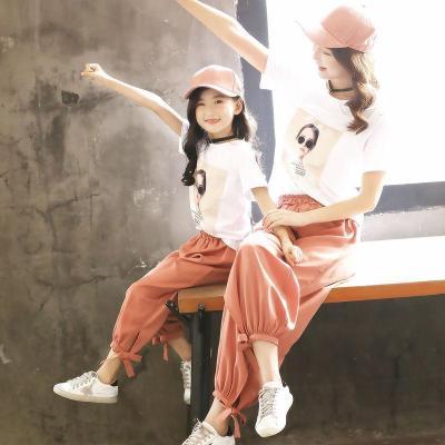 女童套装夏装2019新款潮亲子装母女装洋气夏天儿童韩版童装两件套