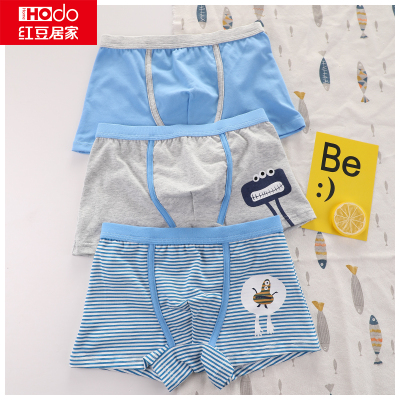 紅豆居家(Hodohome)棉質兒童內褲男童女童中大童寶寶三條禮盒裝三角平角短褲