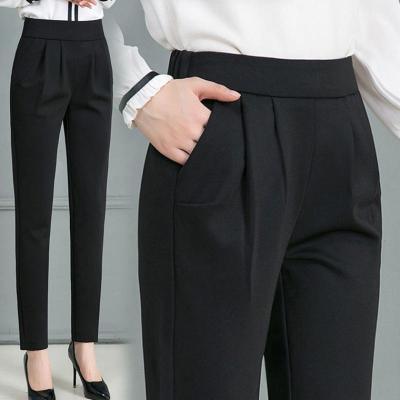 追記 女褲春秋新款哈倫褲女高腰直筒西裝褲小腳長褲女黑色休閑