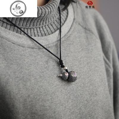 s999纯银手工花丝葫芦吊坠项链镂空挂坠情侣挂件银饰品送生日   JiMi