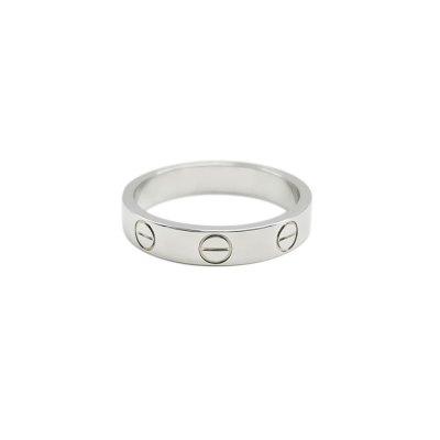 【正品二手95新】卡地亚(CARTIER)LOVE 18K白金 窄版 无钻戒指 B4085100 49号