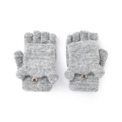 巴拉巴拉儿童手套女童冬季新款加厚保暖针织男童翻盖半指小熊毛线