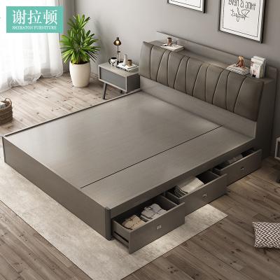 HOTBEE床现代简约主卧榻榻米双人北欧1.5米卧室多功能1.8米高箱储物大床