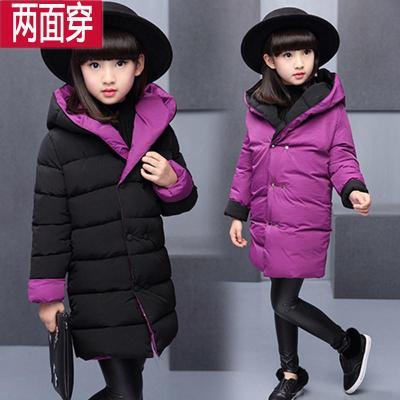 女童棉衣外套中长款加厚棉服冬装中大童女孩两面穿棉袄