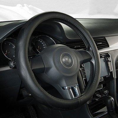 恒源祥新款牛皮汽車方向盤套優質黃牛皮材質汽車方向盤套中碼37-38cm簡約/商務O型D型方向盤套真皮把套別克寶馬奔馳