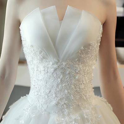 婚紗禮服裙拖尾公主夢幻新款齊地修身復古新娘抹胸夏季長拖尾 臻依緣