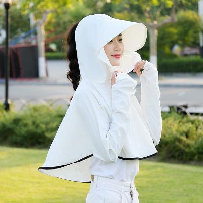 因樂思(YINLESI)新款夏女士防曬袖套長款連帽披肩開騎車護臂手套多用全指護腕 粉色兒童款(100-140cm) 均碼