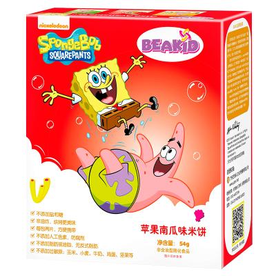 beakid 美国海绵宝宝不添加蔗糖盐米饼苹果南瓜味54g-盒装 零食点心
