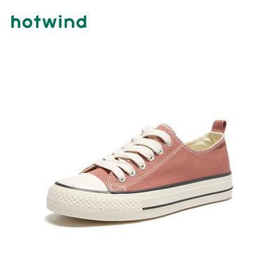 热风hotwind春季新款潮流时尚女士休闲鞋系带低帮帆布鞋H14W9148