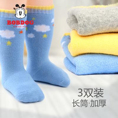 巴布豆配饰婴儿袜子秋冬宝宝加厚毛圈保暖长筒袜冬季加绒0-3岁纯棉袜童袜