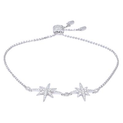 【直营】apm MONACO双流星六芒星925银镶晶钻女士手链可调节送恋人AB3325OX