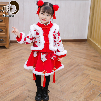 【新品特卖】儿童过年汉服冬季厚中国风喜庆衣服拜年服宝宝女童新年装唐装套装