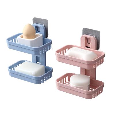 小麦秸秆双层肥皂盒吸盘壁挂式香皂肥皂架沥水香皂盒置物架2个装 颜色随机发
