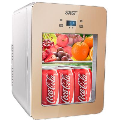 先科(SAST) 22L迷你车载冰箱制冷车家两用电子冰箱透明玻璃 学生宿舍便捷式微型小冰箱冷暖箱 22L双核数显 香槟金