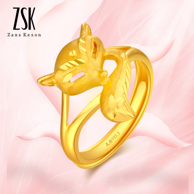 ZSK珠寶 黃金戒指女 狐貍女士足金戒指 活口指環金戒指 送女友戀人禮物 黃金飾品 珠寶首飾(計價)6.76克