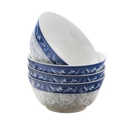 瓷物语家用面碗泡面碗日式餐具陶瓷釉下彩6英寸吃饭碗(4只)