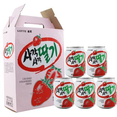 樂天(LOTTE) 草莓汁238ml*12聽整盒裝韓國進口果汁飲料 進口果蔬汁飲料