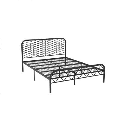 北歐ins網紅風斯黛拉金色雙人鐵床極簡設計師1.8米床鐵藝床成人 1800mm*2000mm_黑色(網片板