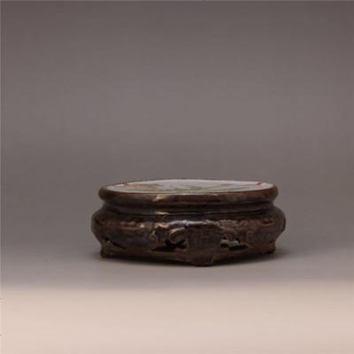 民國時期 粉彩描金荷花圖圓形底座 古董瓷器收藏古玩擺件復古裝飾