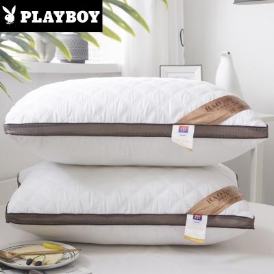 花花公子(PLAYBOY)家紡 五星級咖啡網邊絎縫立體枕芯可水洗雙邊單邊高彈護頸枕頭纖維羽絲絨枕