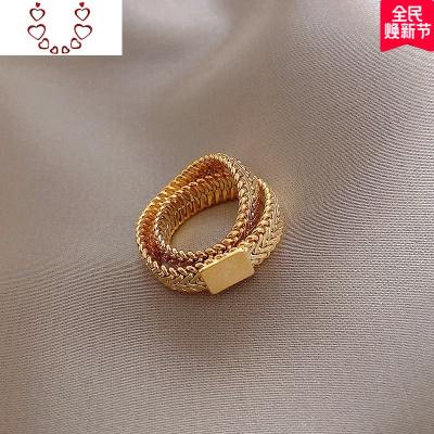 個性小眾網狀設計歐美高級感戒指女時尚網紅食指指環夸張女戒 Chunmi