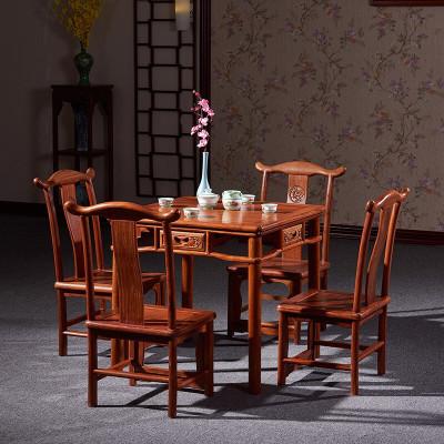 半個許仙紅木家具非洲花梨(學名:刺猬紫檀)實木餐桌大方桌正方形茶桌中式休閑棋牌桌餐廳家具 90*90*78cm大方桌