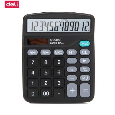 得力(Deli) 計算器837ES 辦公學習/財務會計 12位 太陽能/電能雙驅動 弧面按鍵 黑色