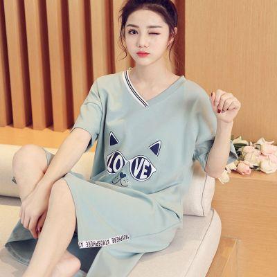 品彩(PinCai)睡衣女夏季純棉睡裙女學生可愛卡通韓版女士長款可外穿家居服裙子