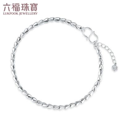 六福珠宝 简约心形美庄链 PT950 铂金手链含延长女款计价L04TBPB0010