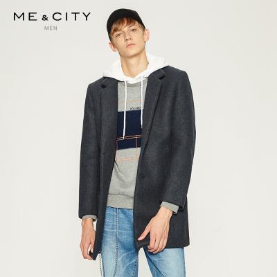 【3件1.5折价:104.4】MECITY男装款修身型羊毛呢大衣时尚都市保暖外套