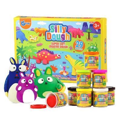 GFUN儿童彩泥橡皮泥 超轻粘土恐龙主题模具彩泥套装 儿童手工彩泥制作玩具大包装9色橡皮泥