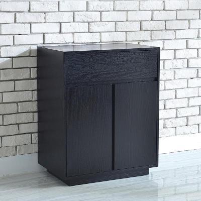 北歐邊柜黑胡桃木色沙發邊幾現代簡約客廳角幾電視柜邊柜角柜定 (黑+胡桃色)650×400×800