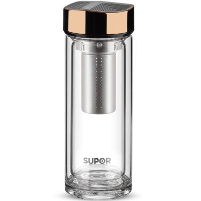 苏泊尔(SUPOR)玻璃杯尊系列双层隔热玻璃水杯KC33CP1透明耐热办公杯过滤带盖泡茶杯商务水杯