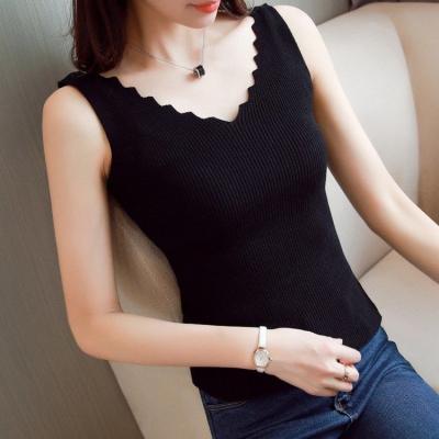 品彩(PinCai)針織背心女修身v領性感無袖打底衫吊帶